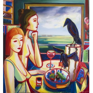 Maciej Cieśla, Two girls by the window, still life and two ravens, 2018