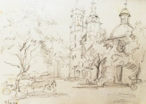 Józef PIENIĄŻEK (1888–1953), Rynek Krakowski z widokiem na kościoły Świętego Wojciecha i Mariacki, [1952]