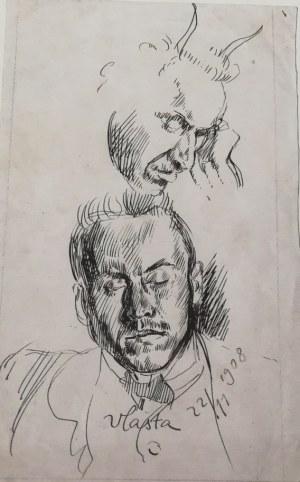 Wlastimil HOFMAN (1881-1970), Studia głowy młodego mężczyzny z zamkniętymi oczami en face, z rogami satyra z prawego profilu, [1908]