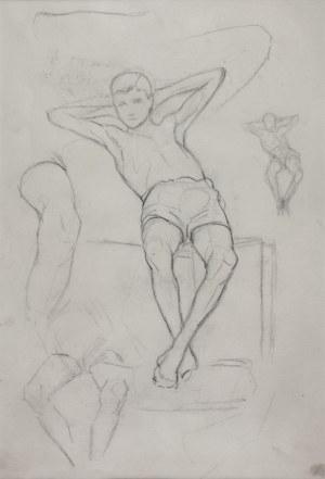 Karol KOSSAK (1896-1975), Szkice modela – postaci siedzącego chłopca, [1922]