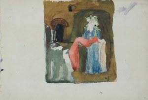 Włodzimierz TETMAJER (1861 – 1923), Scena ze starcem unoszącym ciało martwej dziewczyny we wnętrzu – szkic do sceny dramatu Williama Szekspira Król Lear, [1900]