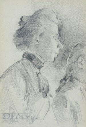 """Włodzimierz TETMAJER (1861 – 1923), Popiersie młodej kobiety oraz fragment głowy dziewczyny z napisem """"Ofiary"""" wpisanym w pięciolinię – szkic, [ok. 1900]"""