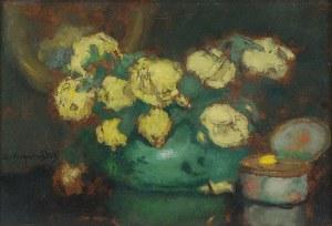 Alfons KARPIŃSKI (1875-1961), Róże żółte - Żółte róże i porcelanowe puzderko, ok. 1933
