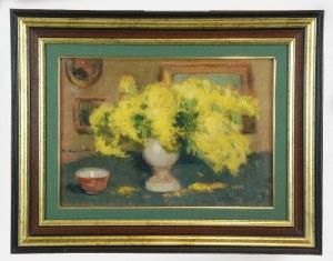 Alfons KARPIŃSKI (1875-1961), Mimoza - Mimozy i ceramiczna miseczka
