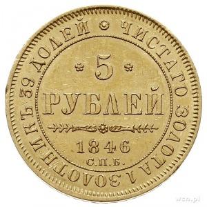 5 rubli 1846 СПБ АГ, Petersburg, złoto 6.52 g, Bitkin 2...