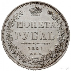 rubel 1851 СПБ ПА, Petersburg, św. Jerzy bez płaszcza, ...