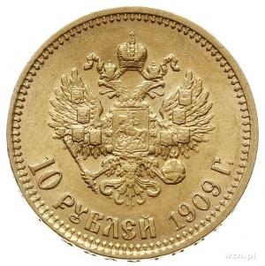 10 rubli 1909 (Э.Б), Petersburg, złoto 8.60 g, Bitkin 1...