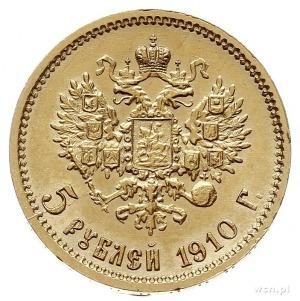 5 rubli 1910 ЭБ, Petersburg, złoto 4.29 g, Bitkin 36 (R...