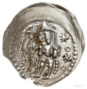 brakteat, Książę stojący z proporcem i mieczem, przed n...