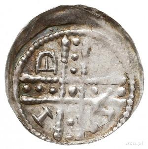 denar jednostronny, Dwunitkowy krzyż z perełkami,w kąta...