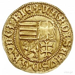dukat (floren) 1443, Nagyszeben, Aw: Czteropolowa tarcz...