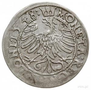 grosz 1548, Kraków, na rewersie odmiana napisu POLONI, ...
