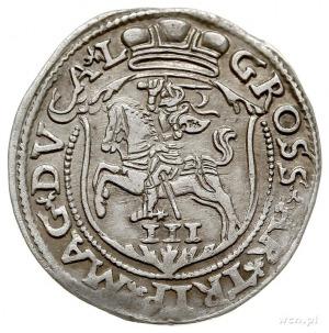 trojak 1563, Wilno, monogram królewski prążkowany, Iger...