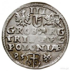 trojak 1585, Poznań, mała głowa króla i napis wokoło ST...