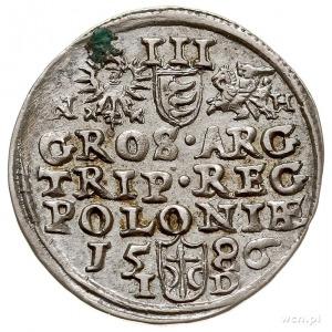 trojak 1586, OIkusz, litery N - H po bokach Orła i Pogo...