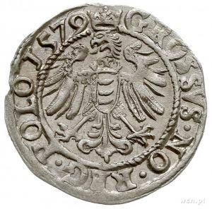 grosz 1579, Olkusz, Aw: Popiersie króla w prawo i napis...