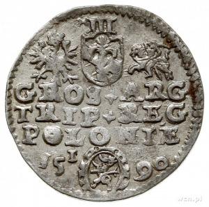 trojak 1590, Olkusz, na rewersie herb Lewart (podskarbi...