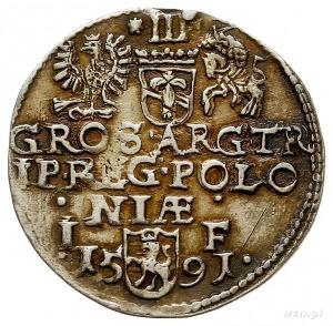 trojak 1591, Olkusz, Iger O.91.7.d (R2), pozłacany, śla...