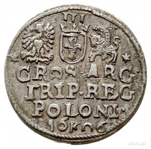 trojak 1606, Kraków, litera K rozdziela pełną datę, Ige...