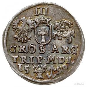 trojak 1598, Wilno, na rewersie znak, głowa wołowa prze...