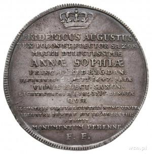 talar pamiątkowy 1717, Drezno, Aw: Napis w 14 wierszach...