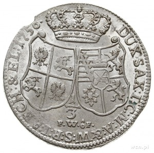 1/3 talara (1/2 guldena) 1756, Drezno, Kahnt 555, mały ...