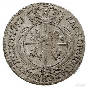 trojak 1753, Lipsk, odmiana z nominałem 1/2 Sz i wąskim...