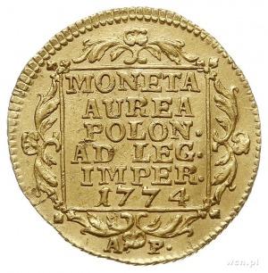 dukat 1774, Warszawa, Aw: Głowa króla w prawo, napis wo...
