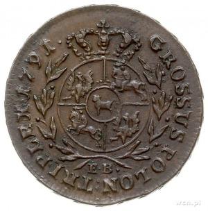 trojak 1791, Warszawa, Iger WA.91.1.a, Plage-miedź 282,...