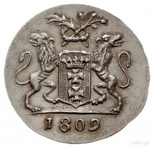 grosz 1809, Gdańsk, odbitka w srebrze 2.21 g, Plage 48,...
