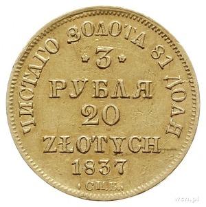 3 ruble = 20 złotych 1837, Petersburg, złoto 3.90 g, Pl...