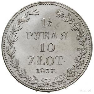 1 1/2 rubla = 10 złotych 1837, Warszawa, Plage 333 -duż...