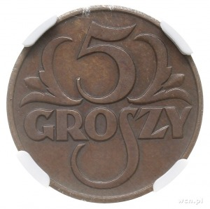 5 groszy 1934, Warszawa, Parchimowicz 103.f, moneta w p...