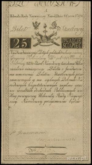 25 złotych 8.06.1794, seria A, numeracja 23269, firmowy...