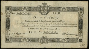 2 talary 1.12.1810, podpis komisarza T. Ostrowski, nume...