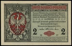 2 marki polskie 9.12.1916, jenerał, seria A, numeracja ...