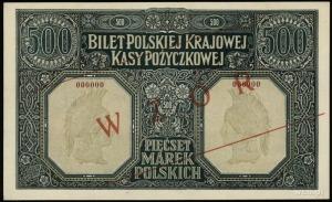 500 marek polskich 15.01.1919, obustronny ukośny nadruk...