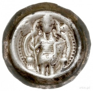 Bernard I Saski 1170-1212, brakteat; Rycerz w zbroi i s...