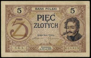 5 złotych 28.02.1919, seria 6.A, numeracja 016819, Luco...