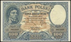 100 złotych 28.02.1919, seria B, numeracja 5012348, Luc...