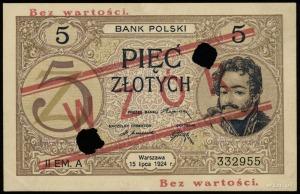 5 złotych 15.07.1924, II emisja, seria A, numeracja  33...