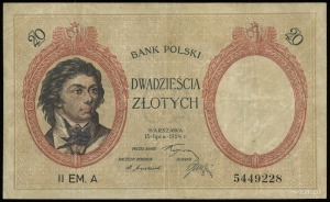 20 złotych 15.07.1924, II emisja, seria A, numeracja 54...