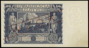 """20 złotych 11.11.1936, czerwony ukośny nadruk """"WZÓR"""" i ..."""