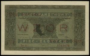 """5 złotych 25.10.1926, czerwony poziomy nadruk """"WZÓR"""" i ..."""