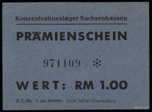 Konzentrationslager Sachsenhausen, Prämienschein (bon) ...