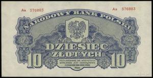10 złotych 1944, w klauzuli OBOWIĄZKOWE, seria Aa, nume...