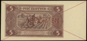 5 złotych 1.07.1948, obustronnie czerwony poziomy nadru...