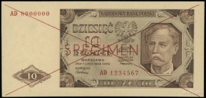 10 złotych 1.07.1948, obustronnie czerwony poziomy nadr...
