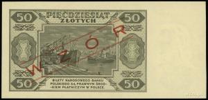 """50 złotych 1.07.1948, czerwony ukośny nadruk """"WZÓR"""", se..."""