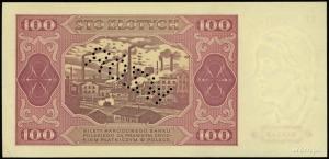 """100 złotych 1.07.1948, perforacja """"WZÓR"""", seria KP, num..."""